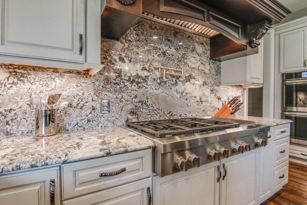 Kitchen with Full Slab Backsplash